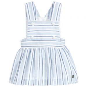 Paz Rodriguez Girl's Blue and White Striped Pinafore Dress