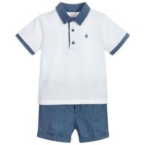Paz Rodriguez Boy's Denim Blue and White Shorts Set