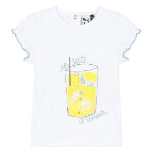 3Pommes Baby Girls White Cotton Lemonade Glass T-Shirt