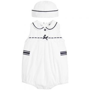 Sarah Louise Baby Girl's White And Navy Shortie