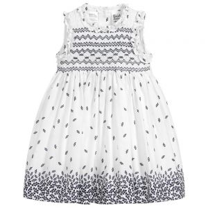 Sarah Louise Girls White and Navy Patterned Hand-Smocked Dress