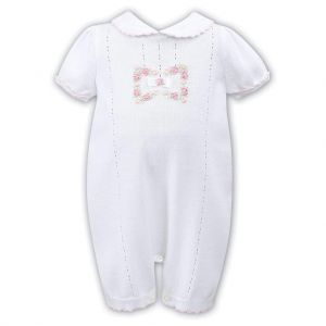 Sarah Louise Girls Hand-Embroidered White Knitted Shortie