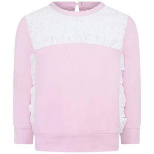 Simonetta Girl's Pink Broderie Anglaise Top