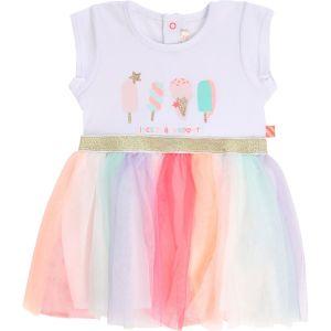 Billieblush Baby White Cotton & Multi Coloured Tulle Dress