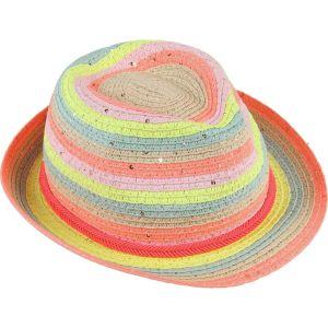 Billieblush Pink & Yellow Stripe Straw Hat