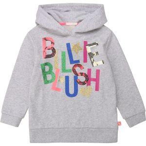 Billieblush Grey Cotton Sparkle Logo Hoodie