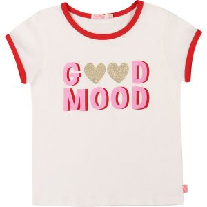 Billieblush Girls Ivory Cotton  Good Mood T-Shirt