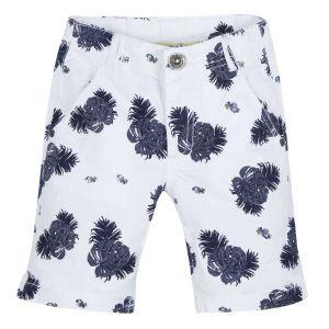 3Pommes Boy's White Cotton Leaf Print Shorts