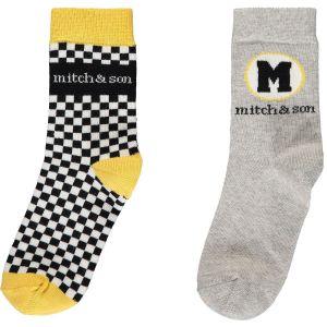 Mitch & Son Boys Grey and Black Weston Socks (2 Pack)
