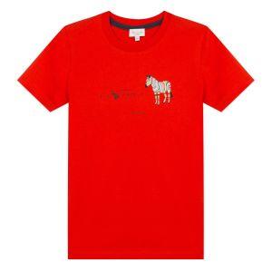 Paul Smith Junior Boys Red 'Aban' Cotton Zebra T-Shirt