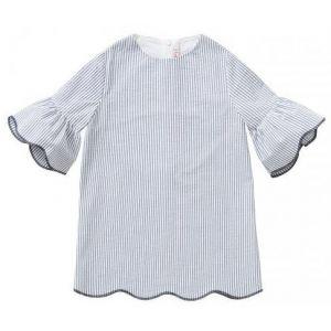 IL Gufo Blue And White Seersucker Dress