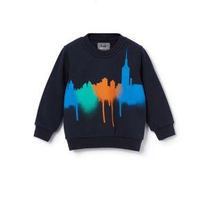 Il Gufo Blue City Print Sweatshirt
