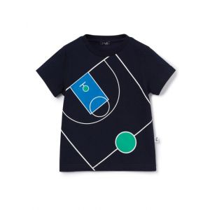 Il Gufo Boys Navy Cotton Basket Ball Court T-Shirt