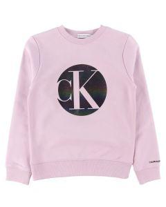 Calvin Klein Jeans Girls Lavender Circle Monogram Sweatshirt