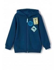 IL Gufo Boy's Teal Hooded Badge Zip Up Top