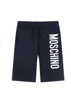 Moschino Kid-Teen Blue Jersey Logo Shorts