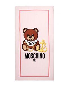 Moschino Kid-Teen Pink Teddy Logo Towel (149cm)