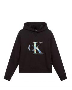 Calvin Klein Jeans  Girls Black Silver Logo Hoodie