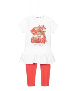 Everything Must Change White & Red Suitcase Print Leggings Set