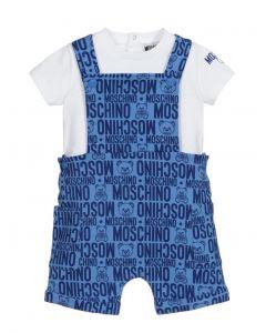 Moschino Baby White & Blue Dungaree Set