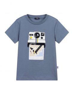 Il Gufo Boys Blue Cotton Camera T-Shirt