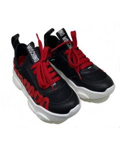 Moschino Kid-Teen Black & Red Heart Trainers