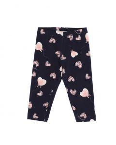 Monnalisa Baby Navy Cotton Pink Heart Leggings