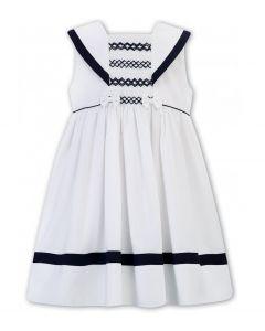 Sarah Louise Older Girls White & Navy Hand-Smocked Sailor Dress