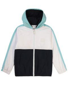 BOSS Kidswear White and Blue Logo Double Hooded Jacket