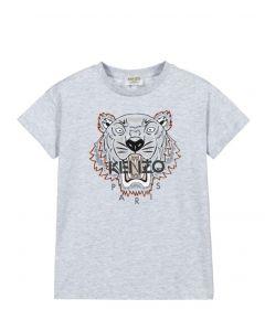 KENZO KIDS Boys Grey Iconic Tiger Logo T-Shirt