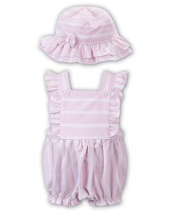 Sarah Louise Girls 'Dani' Pink and White Striped Dungaree Set