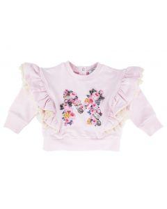 Monnalisa Baby Pink Frilled Sweatshirt