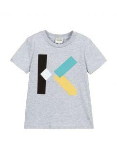 KENZO KIDS Grey Organic Cotton Logo K T-Shirt