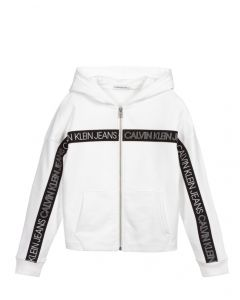 Calvin Klein Jeans Girls White Logo Tape Zip-Up Top
