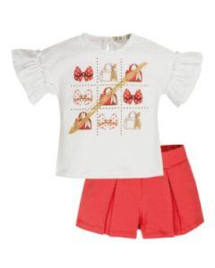 Everything Must Change White & Red Cotton Handbag Shorts Set