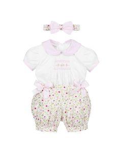 Pretty Originals Pink Floral Buster Suit
