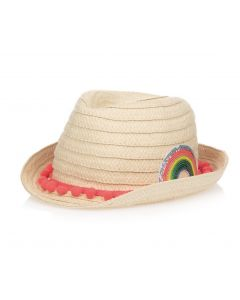 Billieblush Girls Beige Straw Rainbow Hat