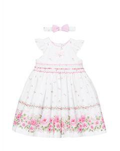 Pretty Originals White & Pink Rose Dress Set