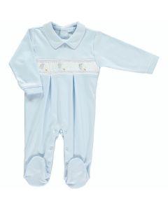 Mini-La-Mode Boys Stork Smocked Blue Babygrow