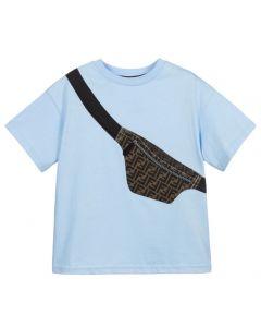 Fendi Boys Belt Bag FF Logo Blue T-Shirt