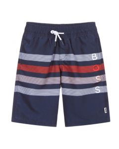 BOSS Kidswear Navy Blue Striped Logo Swim Shorts