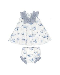 Martin Aranda Girls White & Blue Nautical Dress Set