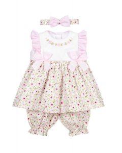 Pretty Originals Pink Floral Bows and Ruffle Dress Set