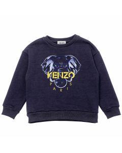 KENZO KIDS Blue Elephant Yellow Logo Sweatshirt