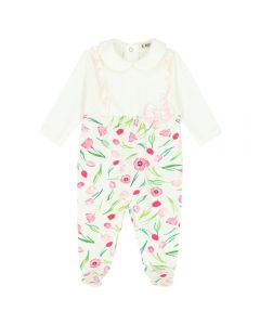 Everything Must Change Pink and Ivory Sparkly Floral Babygrow