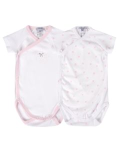 Absorba Baby Girl's Pack Of Two Pink And White Bodyvests