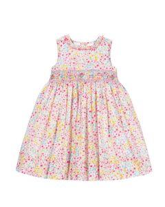 Sarah Louise Multi Coloured Floral Smocked Dress