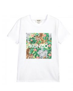 KENZO KIDS Girls White Tiger Logo Box Print T-Shirt