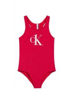 Calvin Klein Girls Pink Logo Swimsuit
