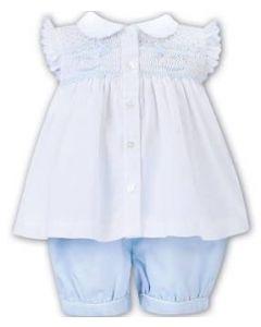 Sarah Louise Girls White Blouse and Pale Blue Shorts Rocking Horse Set